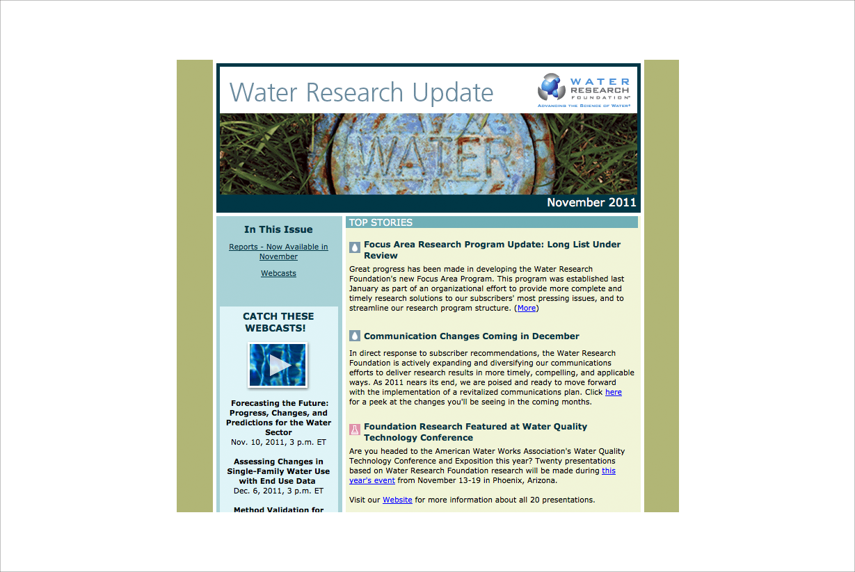 Water Research Foundation Newsletter (portion)
